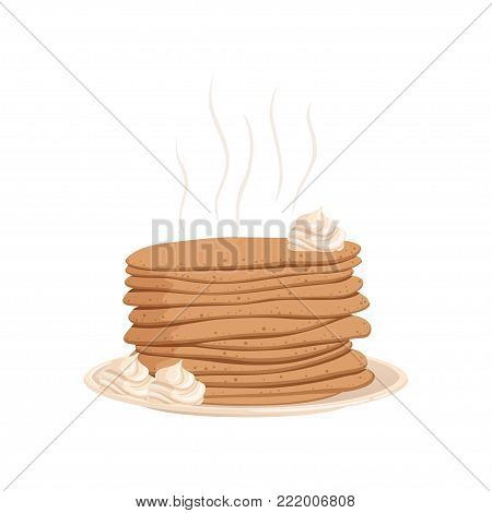 Stack of hot pancakes with whipped cream on plate. Dessert food concept. Cartoon vector illustration in flat style isolated on white background. Graphic design for cafe menu, book, flyer or poster.