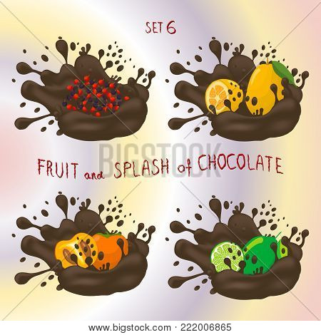 Vector icon logo for fruit lime, persimmon, kumquat, currant, splash of drop brown chocolate. Lime pattern of splashes drip flow Chocolate. Eat fruits limes, persimmons,kumquats,currants in chocolates