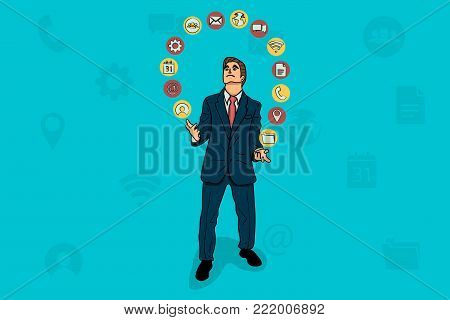 Businessman juggles with business icons. Acrobat. cartoon character