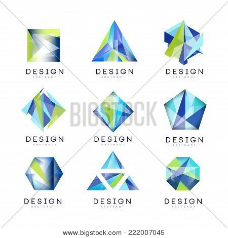 Abstract logo design set, crystal gem geometric badge vector Illustrations on a white background