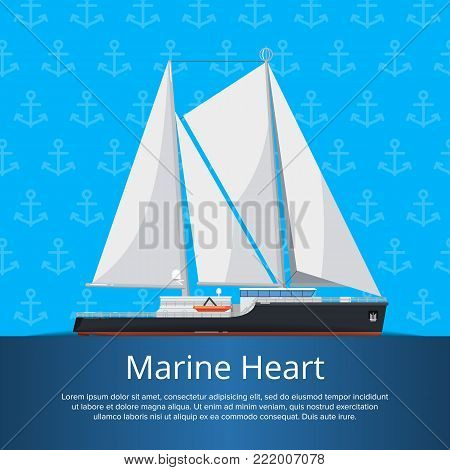 Marine heart poster with luxury yacht in flat style. Outdoor yachting, sailing sport, extreme ocean regatta race. Vintage cruise sailboat, passenger vessel transportation vector illustration.