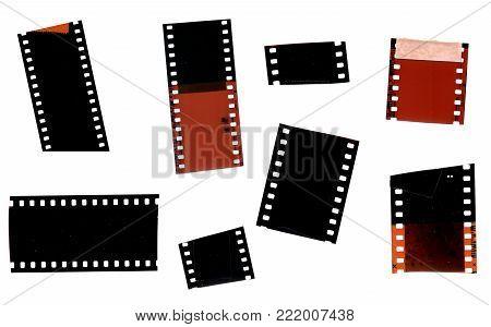 Set of Vintage Scratched Vintage Overexposed Photo Film Strip Fragments with Frames