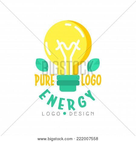 Original logo design template with electric light bulb, green leaves and text. Alternative pure energy concept, renewable electricity production industry. Flat vector isolated on white background