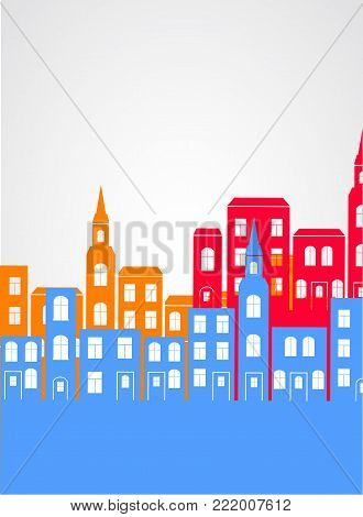 City silhouette simple background. Vector arcitecture illustration