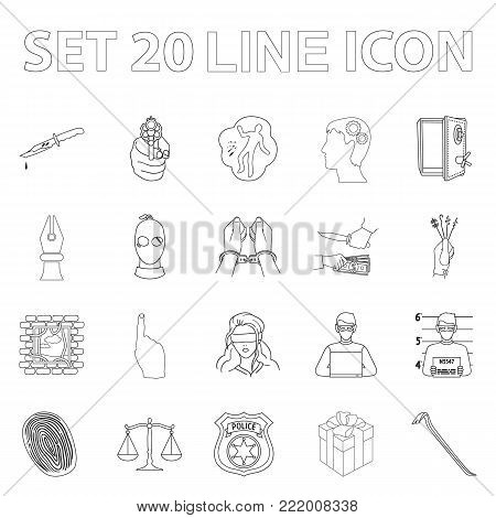 Crime and Punishment outline icons in set collection for design.Criminal vector symbol stock  illustration.