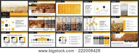 Orange black presentation templates elements on a white background. Vector infographics. Use in Presentation, flyer and leaflet, corporate report, marketing, advertising, annual report, banner.