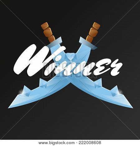 Winner game element with crossed swords. Cartoon medieval weapon for computer game design. Confrontation versus sign, fight opposition concept, fantasy and epic sabre vector illustration.