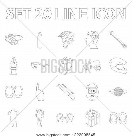 Bicycle outfit outline icons in set collection for design. Bicycle and tool vector symbol stock  illustration.