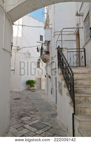 Characteristic alleyway of Martina Franca. Puglia. Southern Italy.