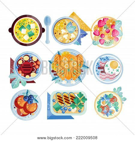 Set of colorful food icons in flat style. Plates with various dishes. Scrambled eggs with bacon, mushroom soup, chicken, beefsteak, fruits. Isolated vector design for restaurant menu or mobile app.