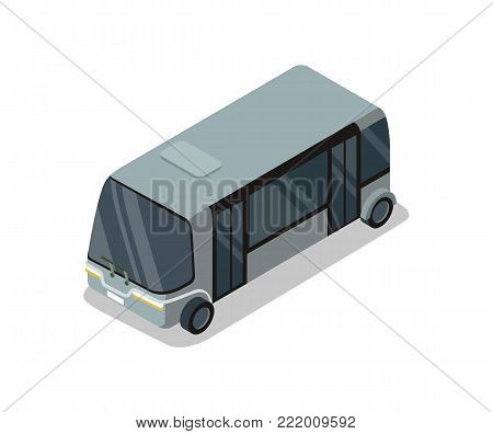 Shuttle bus isolated isometric 3D icon. City public transport, town vehicle, urban and countryside traffic vector illustration.