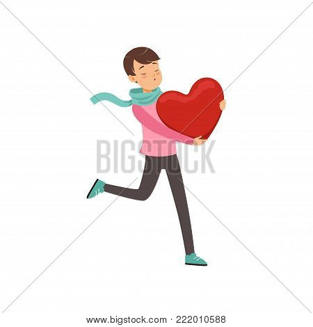 Happy teen boy walking with red heart, Happy Valentines Day concept, love and relationships vector Illustration on a white background
