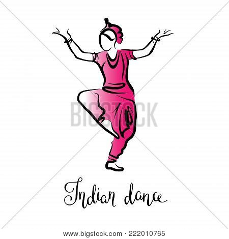 Stylized logo of an Indian dancing woman in a red suit, silhouette of oriental girl in dance