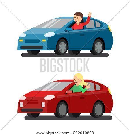 Illustration of male and female drivers in cars. Vector pictures in flat style. Driver transport woman and man