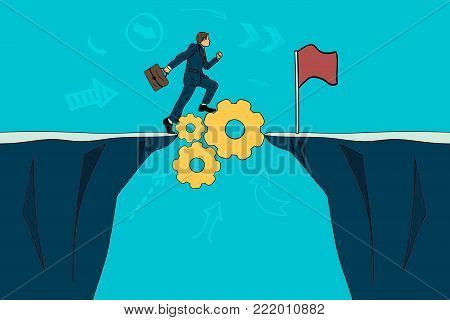 The businessman through the settings achieves the goal