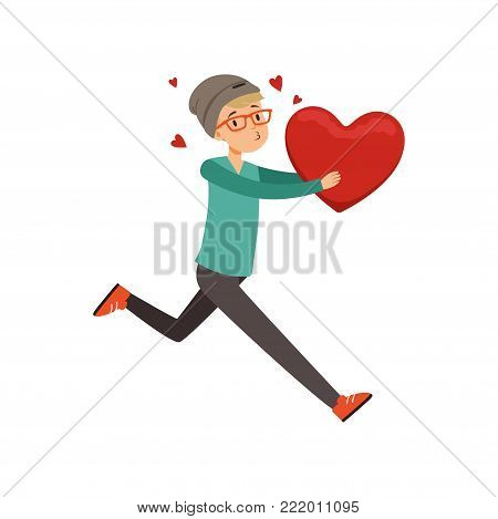 Happy teen boy running with red heart, Happy Valentines Day concept, love and relationships vector Illustration on a white background