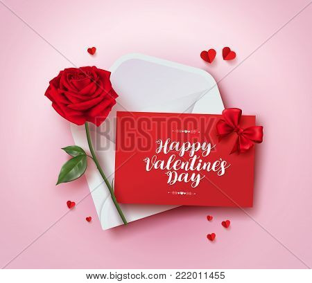 Happy valentines day greeting card vector design with love letter in envelope, rose and paper cut hearts in pink background for valentines day season. Vector illustration.