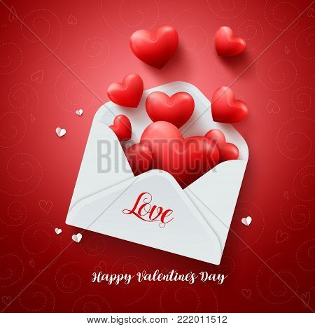 Love letter of hearts vector design with paper valentines card full of hearts and text greeting in red background for valentines day celebration. Vector illustration.