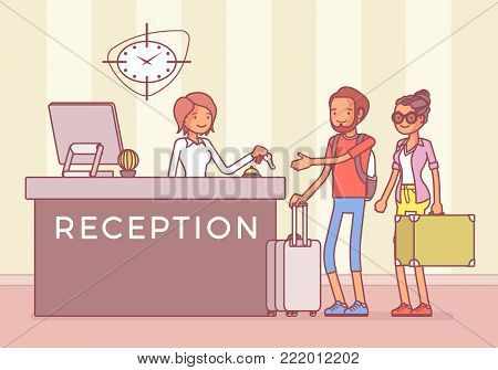 Tourists at reception in a hotel. Young pair, newly married couple, arrive and booking rooms, appointment and reservation manager welcoming visitors and guests. Vector line art illustration