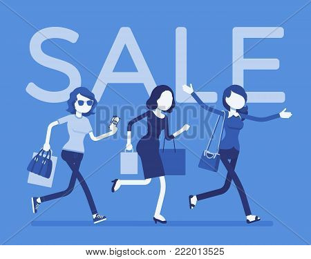 Sale season in the store. Young women running to shop or dealer that sells goods at redu or at lower prices, buyers in a hurry. Vector flat style cartoon illustration isolated on white background poster