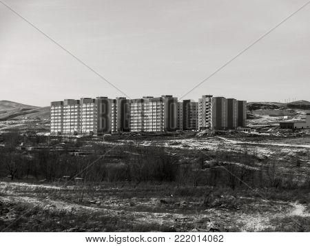 Apartment buildings. Contemporary architecture. Multistorey building. Apartment block. Housing estate. Residential neighborhood.