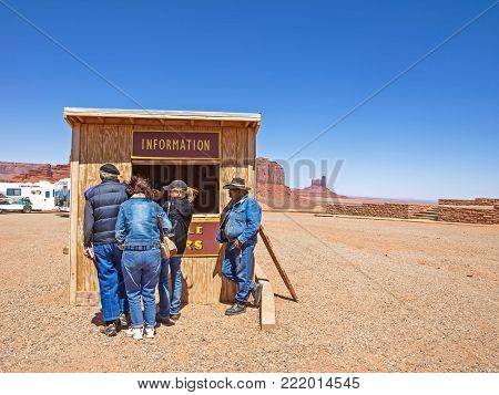 Monument Valley, Arizona, USA - May 12, 2013: The infrastructure for tourists near Monument Valley.
