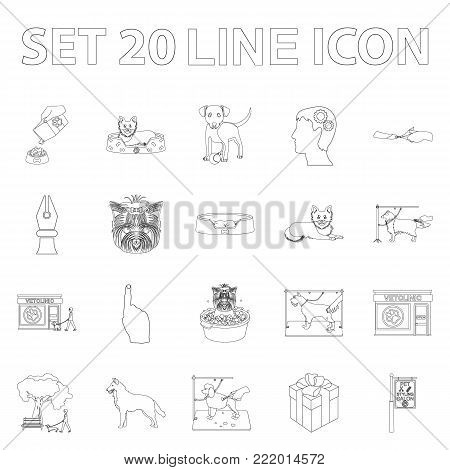 Pet outline icons in set collection for design. Care and education vector symbol stock illustration.
