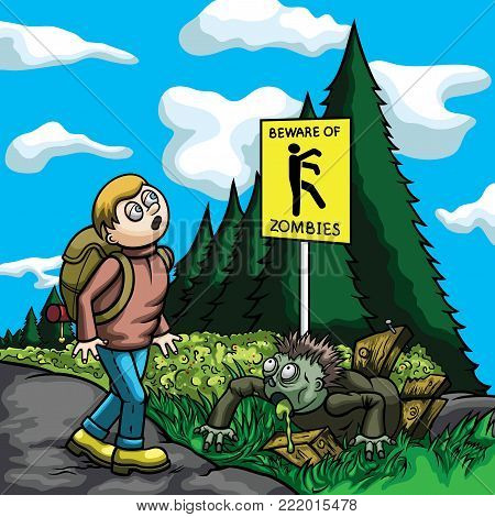 Illustration a tourist, walking on a road. He looks at the caution sign 'beware of zombies', but doesn't see a zombie one