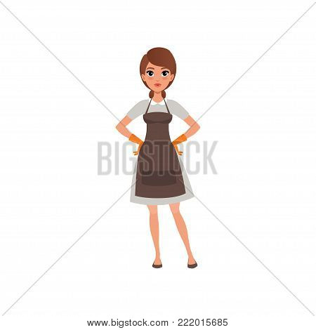 Woman from cleaning maid service. Pretty brunette girl standing with arms akimbo. Cartoon female character in gray dress, brow apron and orange rubber gloves. Isolated flat vector illustration.
