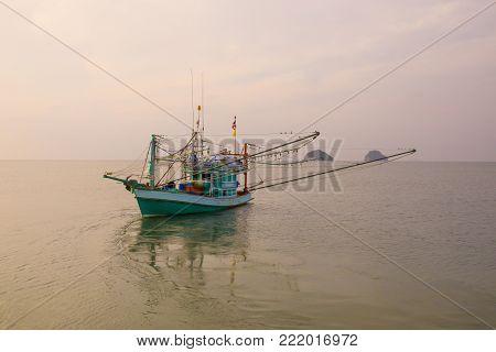 thai fishery boat in prachuap khiri khan southern of thailand