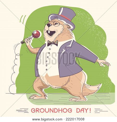 Marmot In Gentleman Clothes With Microphone. Groundhog Day Holiday Hand Drawn Illustration