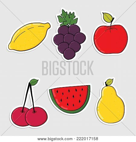 Set of stickers with colorful  hand drawn vegetables. Colorful icons, patches, stickers. Great for stickers, embroidery, badges.Healthy food