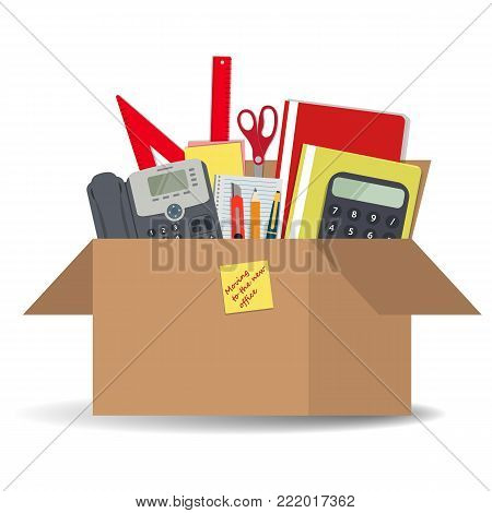 Office accessories in a cardboard box.