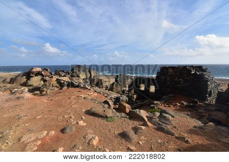 Stunning view of a gold mill ruins from a hill
