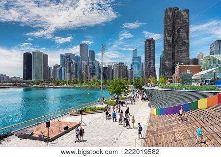 Navy Pier and Chicago skyline on June 21, 2017 in Chicago, Illinois. The Navy Pier - Chicago´s number one tourist attraction.