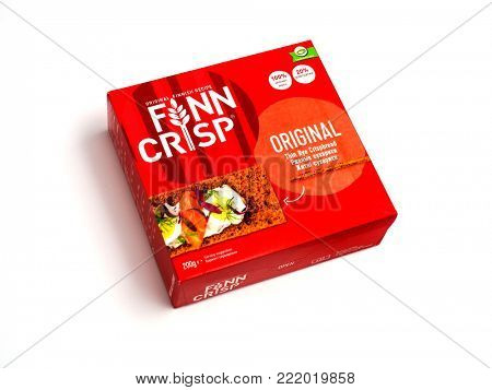 MOSCOW - JANUARY 11, 2018: Thin crispbread FIINN CRIPS. Production bySwedish company Lantmannen. Illustrative editorial photo