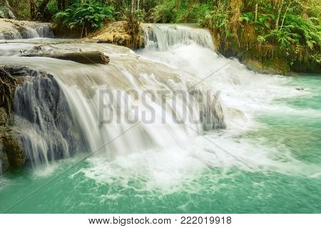 Tat Kuang Si Waterfalls. Beautiful landscape. Luang Prabang. Laos.