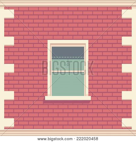 Classic window in brick wall. Architectural element of the building facade. Vector detailed illustration.
