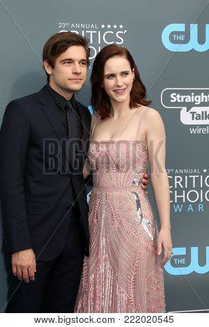 LOS ANGELES - JAN 11:  Jason Ralph, Rachel Brosnahan at the 23rd Annual Critics' Choice Awards at Barker Hanger on January 11, 2018 in Santa Monica, CA