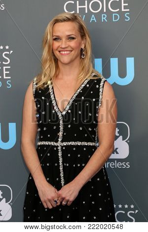 LOS ANGELES - JAN 11:  Reese WItherspoon at the 23rd Annual Critics' Choice Awards at Barker Hanger on January 11, 2018 in Santa Monica, CA