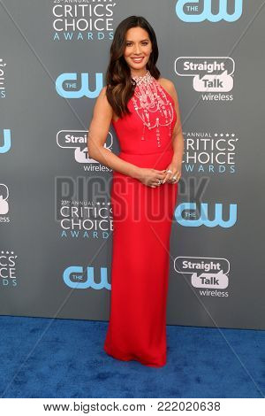 LOS ANGELES - JAN 11:  Olivia Munn at the 23rd Annual Critics' Choice Awards at Barker Hanger on January 11, 2018 in Santa Monica, CA