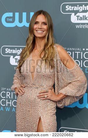 LOS ANGELES - JAN 11:  Heidi Klum at the 23rd Annual Critics' Choice Awards at Barker Hanger on January 11, 2018 in Santa Monica, CA