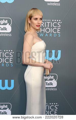 LOS ANGELES - JAN 11:  Emma Roberts at the 23rd Annual Critics' Choice Awards at Barker Hanger on January 11, 2018 in Santa Monica, CA