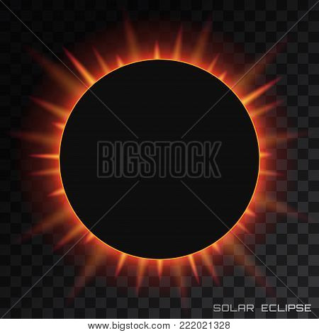 Vector total solar eclipse with corona on transparent background.