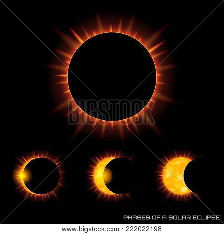 Vector phases of the total solar eclipse with corona on dark background.