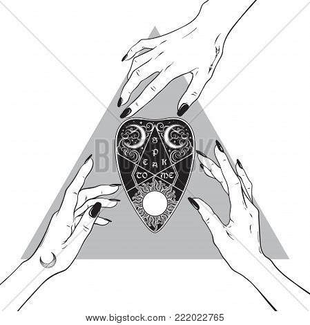 Hands of three witches reaching out to the divination board oracle planchette. Black work, tattoo, poster art or print design hand drawn vector illustration.