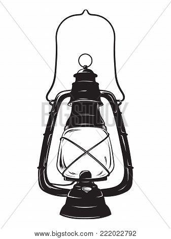 Hand-drawn grunge sketch vintage oil lantern or kerosene lamp isolated. T-shirt print or poster design. Vector illustration.