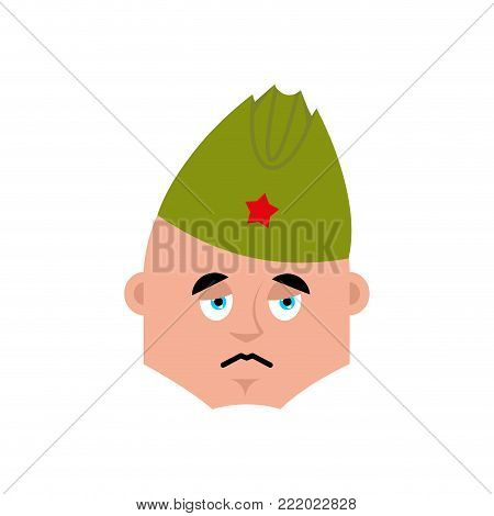 Soviet soldier sad emoji. Retro Russian warrior sorrowful emotions avatar. dull Military in Russia. Illustration for 23 February. Defender of Fatherland Day. Army holiday for Russian Federation