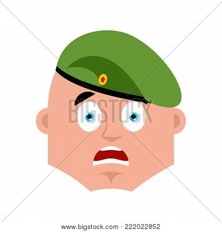 Russian soldier scared OMG emoj. Airborne troops Oh my God emotions. Paratrooper Military in Russia Frightened. Illustration for 23 February. Defender of Fatherland Day. Army holiday for Russian Federation