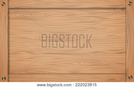 Side of brown wooden crate, box or frame with screws